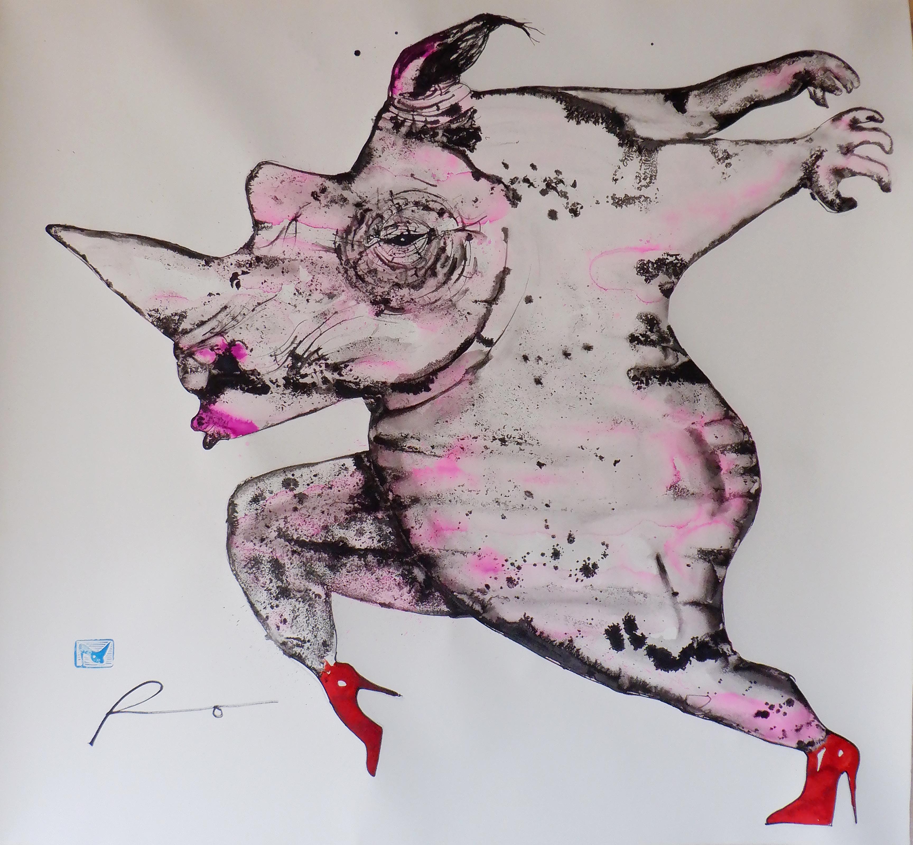 Rino entusiasmado rosa