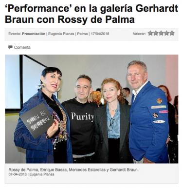 'Performance' en la galería Gerhardt Braun con Rossy de Palma
